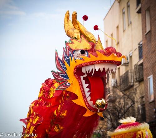Detalle dragón rojo