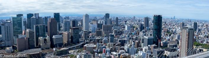 Panorámica de Osaka desde el observatorio del jardín flotante
