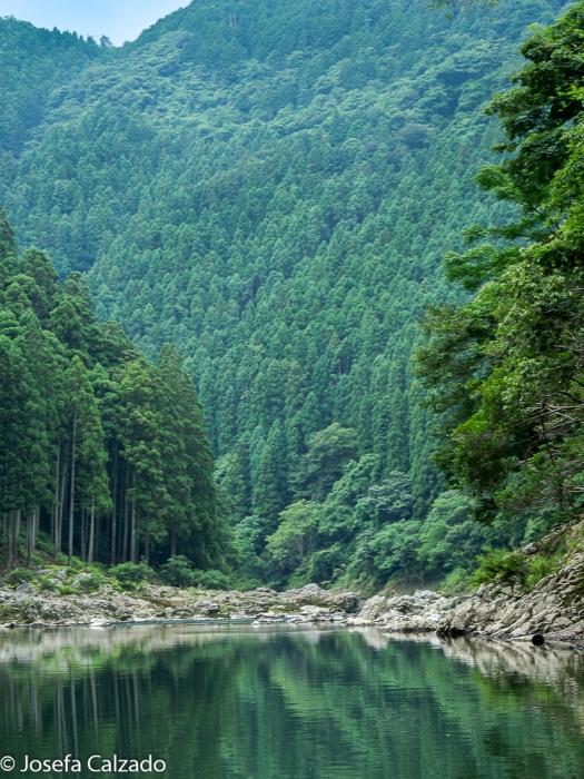Vista de las montañas reflejándose en el río Hozu