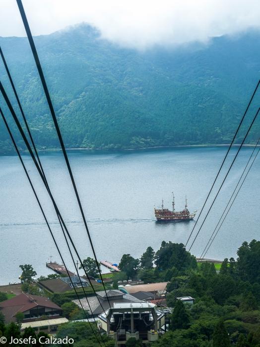 Detalle del lago desde la cabina del funicular Komagatake