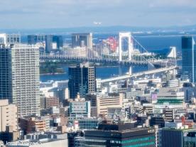 Vista de la bahía de Odaiba y Rainbow Brigde