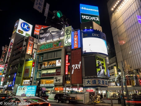 Detalle luces en Shibuya crossing