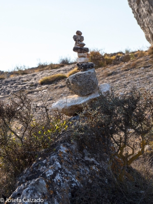 Detalle columna de piedras