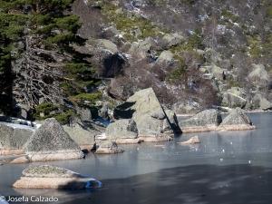 Detalle rocas graníticas dentro de la Laguna Negra