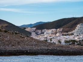 Vista del pueblo de Carboneras y en primer plano Isla de San Andrés